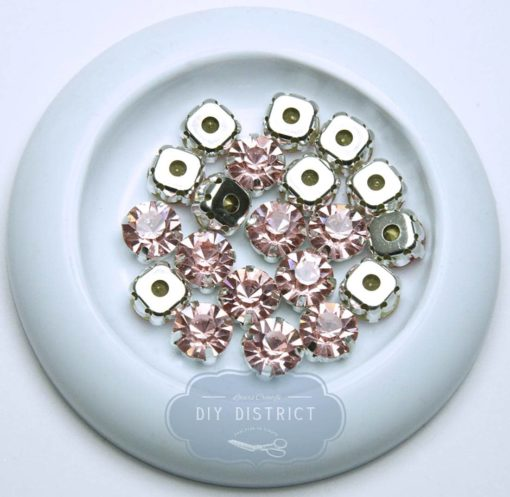 Strass rond de cristal rose avec support 10mm