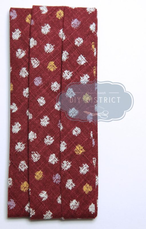Biais Japonais petit point fond rouge