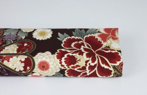 Tissu floral coloré traditionnel Japonais fond gris marron